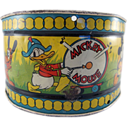 Walt Disney Enterprises Tin Litho Ohio Art Drum 1930s