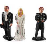 SALE Barclay Cast Metal Bride, Groom and Minister 3 Piece Cake Topper Figures