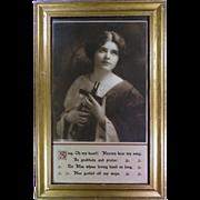 "Antique Religious Lithograph by Johnson Gordon Co. Chicago circa 1913 ""Sing Oh My Heart"""