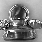 Mid Century Stainless Steel Serving Set With Labels Danish Modern Set