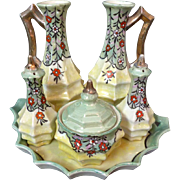 Luster Ware Condiment Set Made In Japan 6 Piece Set Including Tray Floral Design