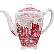 Johnson Brothers Old Britain Castles Coffee Pot Pink Crown Stamp Made In England