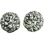 Art Nouveau Silver Earrings Sterling Silver Screw Back Earrings