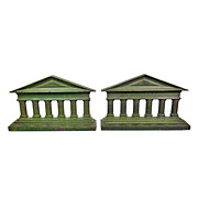 H. L. Judd Cast Iron  Bookends 1920s GreeK Temple Columns