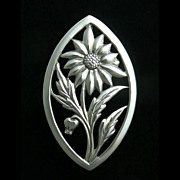 Vintage Sterling Silver Sunflower Pin Vintage Silver  Brooch