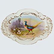 Antique Limoges Game Bird Platter Rare Barny & Rigoni  Mark Hand Painted Artist signed