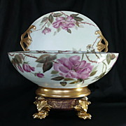 Antique Limoges Punch Bowl Set Hand Painted Bowl, Platter & Base