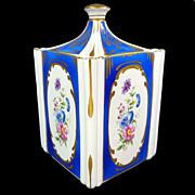Limoges Covered Biscuit Jar or Dresser Vanity Jar Royal Blue Gold Accents & Floral Cameos