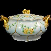Limoges Covered Bowl Sugar Bowl Sauce Bowl Floral Design Gilt Handles