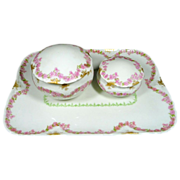Antique Limoges Dresser Set D & C Delinieres Vanity Set Pink Floral Design