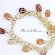 SALE Natural Hessonite Gold Filled Vermeil Charm Bracelet