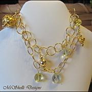SALE Lemon Quartz Green Amethyst Vermeil Gold Filled Double Bracelet
