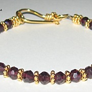 SALE MiShelli ~ Garnet Gemstone Vermeil Bracelet