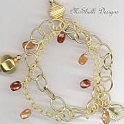 Hessonite Gemstones Double Strand Gold Filled Vermeil Bracelet
