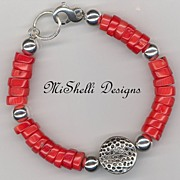 SALE Chunky Coral Sterling Balinese Bracelet