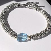 SALE Blue Topaz Gemstone Nugget Sterling Bracelet