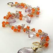 SALE Blooming Flowers - Amethyst Carnelian Gemstone Cluster Bracelet