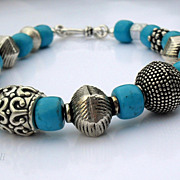 SALE Chunky Turquoise Sterling Balinese Bracelet