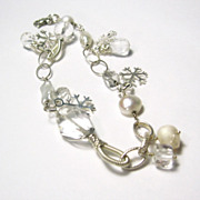 SALE Snowflake and Icicles Collection Quartz Gemstone Pearl Sterling Snowflake Charm Bracelet
