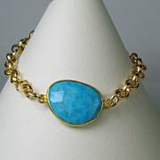 SALE WINTER CLEARANCE Turquoise Gemstone Bezel Gold Filled Bracelet
