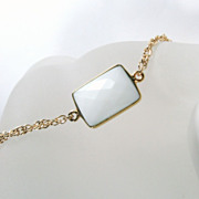 SALE Spring Collection - White Chalcedony Gemstone Gold Bracelet
