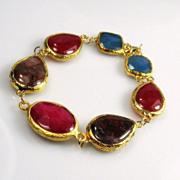 SALE Ruby Red Jade Agate Gold Dipped Gemstone Bracelet