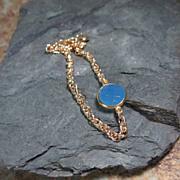 REDUCED Sky Blue Chalcedony Gemstone Gold Bracelet