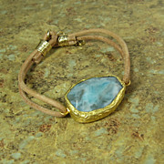 SALE Gold Dipped Blue Gemstone Leather Bracelet - Leather Collection