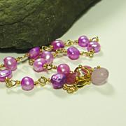 SALE Spring Blooms Purple Pearl Vermeil Bracelet