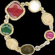 SALE Vibrant Colorful Gemstone Statement Bracelet 14k Gold Vermeil