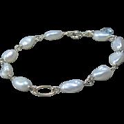 14K Gold White Freshwater Pearl Bracelet, Aquamarine, wire wrapped, bridal, aquamarine, yellow