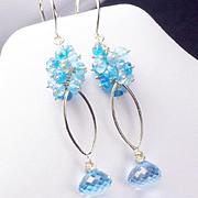 SALE Luxe Topaz Apatite Gold Filled Vermeil Dangle Earrings
