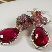 SALE PENDING Rubellite Red Quartz Spinel Gemstone Cluster Sterling Earrings