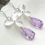 SALE Orchid Lavender Quartz Sterling Earrings