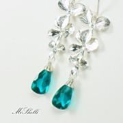 Paraiba Blue Quartz Orchid Tier Earrings
