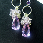 SALE Lavender and Rose Quartz Prehnite Citrine Cluster Sterling Earrings