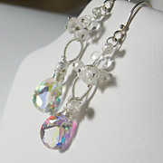 SALE Snowflakes and Icicles Collection - Quartz Moonstone Cluster Dangle Earrings