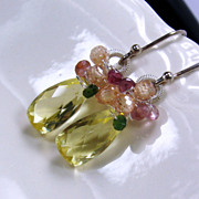 SALE YEAR END SALE Yellow Quartz Citrine Tourmaline Sterling Gemstone Earrings