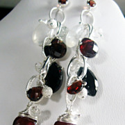 SALE Garnet Spinel Moonstone Sterling Cascading Dangle Earrings