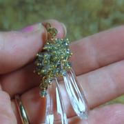 SALE Teal Green Quartz Crystal Cluster Earrings