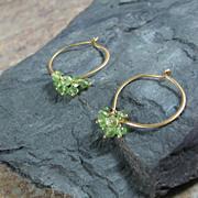Peridot Gemstone Lotus Loop Gold Vermeil Hoop Earrings