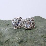 White Sapphire Diamond Post Earrings