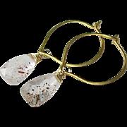 SALE Lepidocrosite Gemstone Hoops - Vermeil