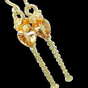 SALE Apricot Quartz Carnelian Citrine Long Dangles, gemstone earrings, clusters