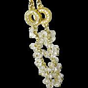 SALE White topaz and quartz crystal cascading gemstone dangle earrings, gold, hand linked, ...