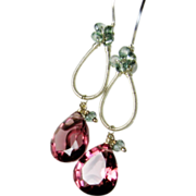 SALE Mulberry Gemstone dangle earrings, sterling silver sculptured, berry and green Quartz gem
