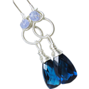 SALE Blue dangles, sterling silver, quartz, tanzanite, gemstone chandelier earrings, wire wrap