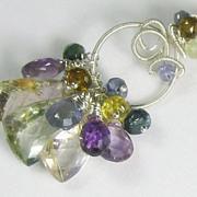 SALE 50% OFF Amethyst Quartz Tourmaline Gemstone Sculptured Pendant Necklace