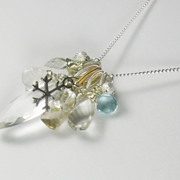 SALE Snowflakes and Icicles Gemstone Cluster Pendant
