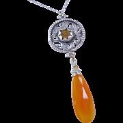 REDUCED YEAR END SALE Fanta Orange Chalcedony Fretworked Gemstone Pendant